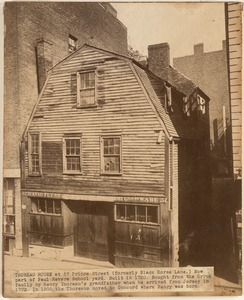 Thoreau House at 57 Prince Street (formerly Black Horse Lane). Nowpart of Paul Revere School yard. Built in 1720. Bought from the Orrok family by Henry Thoreau's grandfather when he arrived from Jersey in 1773. In 1800 the Thoreaus moved to Concord where Henry was born