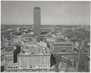 Aerial view of Copley Square, Prudential Center, and Back Bay from John Hancock Insurance Building