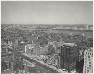 Aerial view of Copley Square, Boylston Street and Back Bay from John Hancock Insurance Building