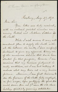 Letter from William Lloyd Garrison, Roxbury, [Mass.], to Theodore Browne, Aug. 27, 1870