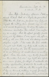 Letter from William Lloyd Garrison, Providence, [R.I.], to Helen Eliza Garrison, Sept. 13, [18]70, 3 o'clock P.M.