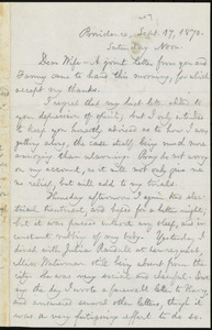 Letter from William Lloyd Garrison, Providence, [R.I.], to Helen Eliza Garrison, Sept. 17, 1870, Saturday Noon