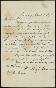 Letter from William Lloyd Garrison, Roxbury, [Mass.], to William Cooper Nell, April 3, 1871