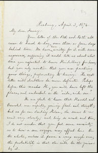 Letter from William Lloyd Garrison, Roxbury, [Mass.], to Fanny Garrison Villard, April 3, 1874