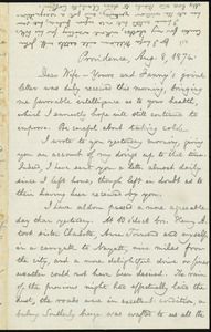 Letter from William Lloyd Garrison, Providence, [R.I.], to Helen Eliza Garrison, Aug. 8, 1874