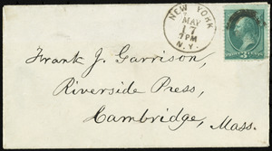Letter from William Lloyd Garrison, New York, to Francis Jackson Garrison, May 17, 1877