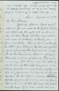 Letter from William Lloyd Garrison, Lymm, [England], to Fanny Garrison Villard, August 17, 1877