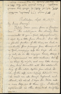Letter from William Lloyd Garrison, Rockledge, [Roxbury, Mass.], to Fanny Garrison Villard, Sept. 10, 1877