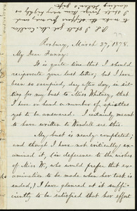 Letter from William Lloyd Garrison, Roxbury, [Mass.], to Fanny Garrison Villard, March 27, 1878