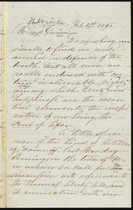 Letter from [Hubbardston, Mass.], to William Lloyd Garrison, Feb. 1st, 1860