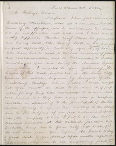 Letter from George William Benson, Prov[i]d[ence], [R.I.], to William Lloyd Garrison, 3'd month 30th [day] 1833