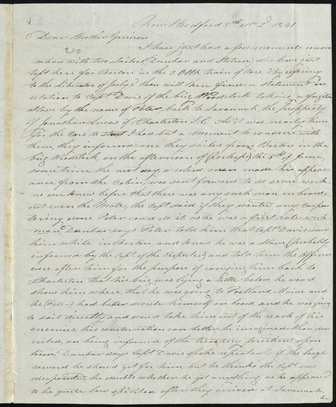 Letter from John Bailey, New Bedford, [Mass.], to William Lloyd Garrison, 8th mo[nth] 2'd [day] 1841
