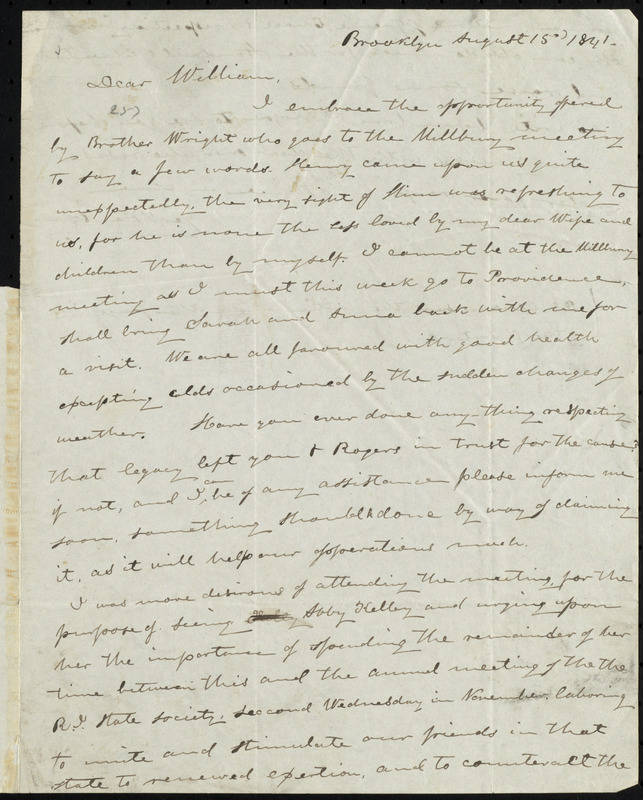 Letter from George William Benson, Brooklyn, [Conn.], to William Lloyd Garrison, August 15, 1841