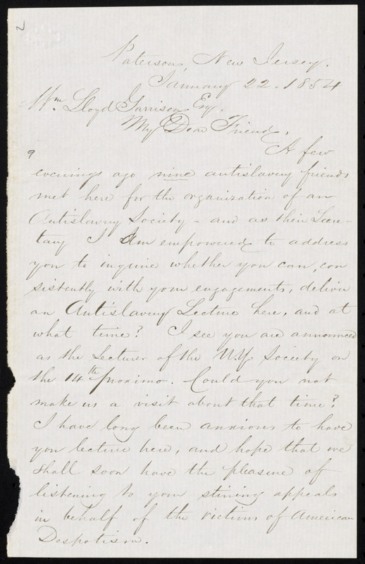 Letter from Alfred Gibbs Campbell, Paterson, New Jersey, to William Lloyd Garrison, January 22, 1854