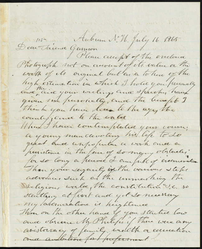 Letter from Benjamin Chase, Auburn, N.H., to William Lloyd Garrison, July 16, 1865