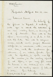 Letter from Adin Ballou, Hopedale, Milford, [Mass.], to William Lloyd Garrison, Oct. 23, 1860