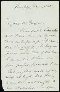 Letter from Henry Ward Beecher, Brooklyn, [N.Y.], to William Lloyd Garrison, Feb. 4, 1865