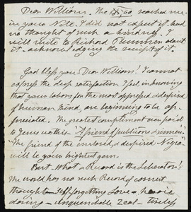 Letter from Henry Clarke Wright, to William Lloyd Garrison, [1865?]