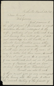 Letter from Amy Post, Rochester, [N.Y.], to William Lloyd Garrison, March 25, [18]65