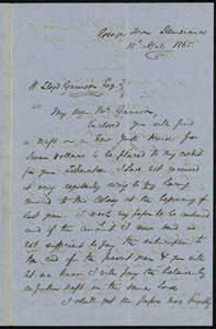Letter from Henry Bleby, Georgetown, Demerara, to William Lloyd Garrison, 15th April 1865
