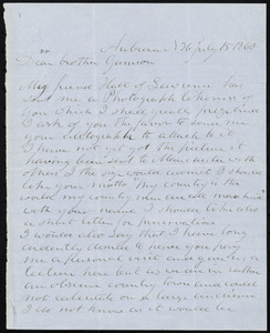 Letter from Benjamin Chase, Auburn, NH, to William Lloyd Garrison, July 15, 1860