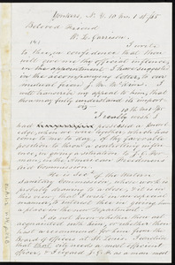 Letter from Nathaniel Barney, Yonkers, N.Y., to William Lloyd Garrison, 10 mo[nth] 1st [day], [18]65