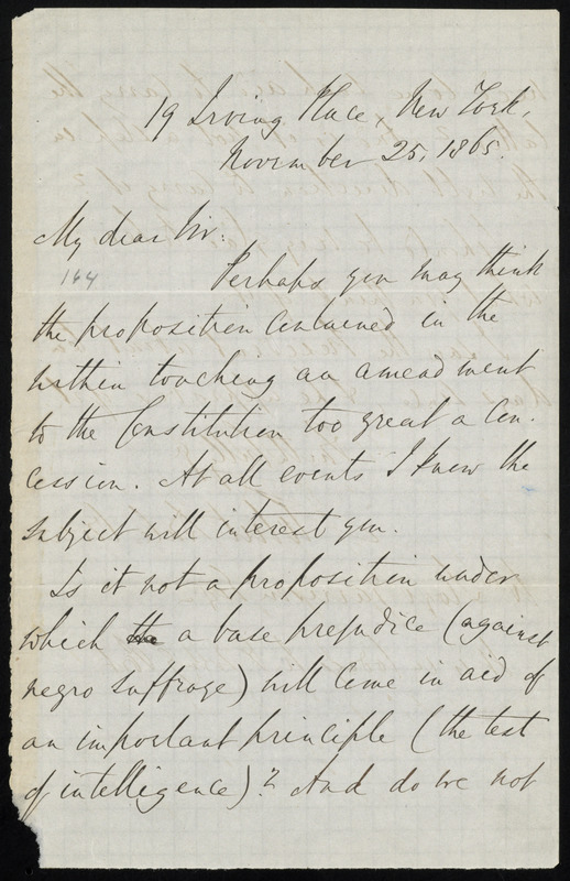 Letter from Robert Dale Owen, 19 Irving Place, New York, to William Lloyd Garrison, November 25, 1865