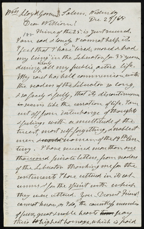 Letter from Henry Clarke Wright, Salem, to William Lloyd Garrison, Wednesday, Dec. 27, [18]65