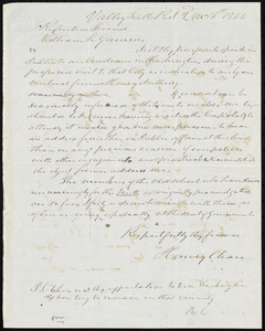 Letter from Harvey Chace, Valley Falls, RI, to William Lloyd Garrison, 2'd m[onth] 16th [day] 1866