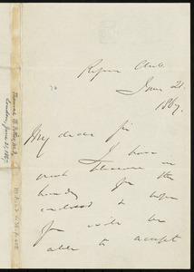 Letter from Thomas Bayley Potter, Reform Club, [London, England], to William Lloyd Garrison, June 21, 1867