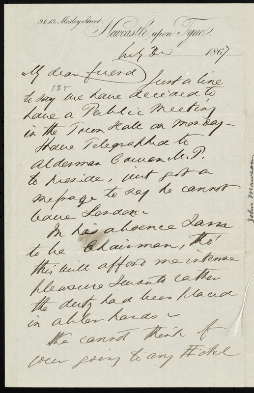 Letter from John Mawson, 9213 Mosley Street, Newcastle upon Tyne, [England], to William Lloyd Garrison, July 3rd, 1867