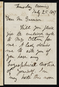 Letter from Sarah Parker Remond, to William Lloyd Garrison, Thursday evening, July 25, 1867
