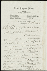 Letter from Thomas Holliday Barker, Manchester, [England], to William Lloyd Garrison, Oct. 12, 1867
