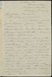 Letter from Thomas Holliday Barker, Abbey St., Greenheys, Manchester, [England], to William Lloyd Garrison, Xmas Day [Dec. 25], 1867