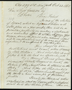 Letter from Henry Browne Blackwell, Box 299 P.O., New York, to William Lloyd Garrison, Oct. 22, 1868