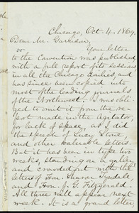 Letter from Mary Ashton Rice Livermore, Chicago, to William Lloyd Garrison, Oct. 4, 1869
