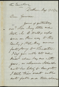 Letter from Edmund Quincy, Dedham, to William Lloyd Garrison, May 17, 1872