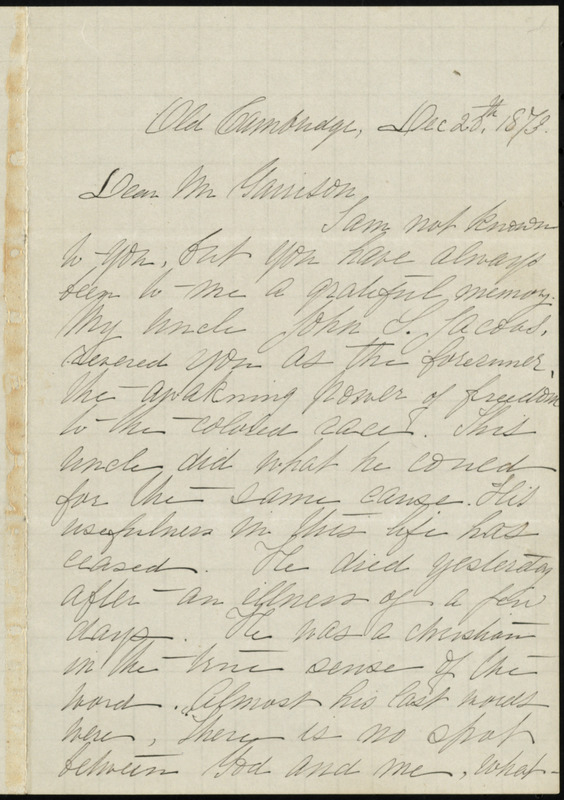 Letter from Louise Jacobs, 127 Mt. Auburn Street, corner of Story, Old Cambridge, to William Lloyd Garrison, Dec. 20th, 1873