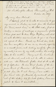 Letter from William Lloyd Garrison, 22 Southampton Street, Bloombury, W. C., [London, England], to Elizabeth Pease Nichol, October 12, 1867