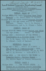 LICBC program schedule for the week of March 28, 1949