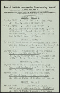 LICBC program schedule for the week of April 4, 1949
