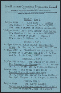 LICBC program schedule for the week of May 2, 1949