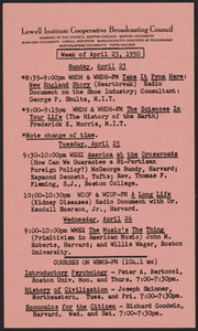 LICBC program schedule for the week of April 23, 1950
