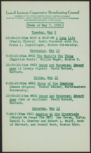 LICBC program schedule for the week of May 7, 1950