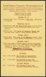 LICBC program schedule for the week of May 28, 1950