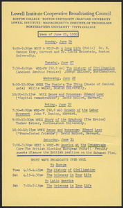 LICBC program schedule for the week of June 25, 1950