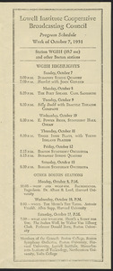 LICBC program schedule for the week of October 7, 1951