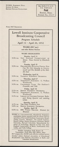 LICBC Program Schedule April 14 – April 20, 1952