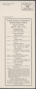 LICBC Program Schedule April 28 – May 4, 1952