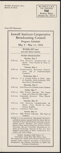 LICBC Program Schedule May 5 – May 11, 1952